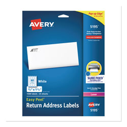 "Avery White Easy Peel Laser Return Address Labels, 2/3""x1 3/4"""