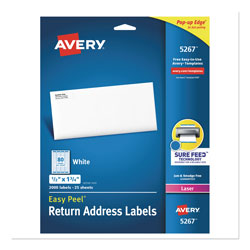 "Avery White Laser Address Labels with Smooth Feed Sheets™, 1/2""x1 3/4"", 2000 per Pack"