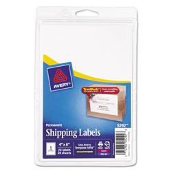 "Avery Shipping, 4""x6"", 20 per Pack, White"