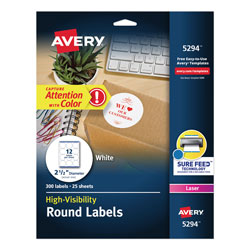 "Avery Round Specialty Laser Printer Labels, 2 1/2"" meter, White, 300 per Pack"