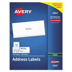 "Avery Self Adhesive Address Labels for Copiers, White, 1""x2 13/16"", 3300 per Pack"