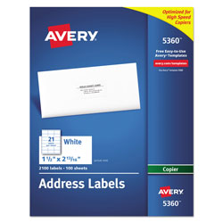 "Avery Self Adhesive Address Labels for Copiers, White, 1 1/2""x2 13/16"", 2100 per Pack"