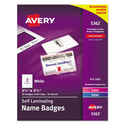"Avery Self Laminating Laser/Ink Jet Badges, 2""x3 1/4"", 30 per Pack"