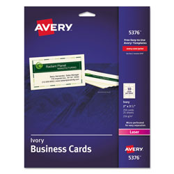 "Avery Laser Business Cards, 2""x3 1/2"", Ivory, 10 Cards/Sheet, 250 Cards per Pack"