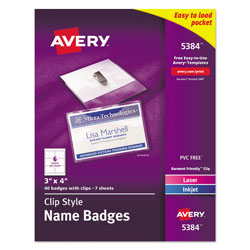 "Avery Garment Friendly™ Clip Style Name Badges, 3"" x 4"", White, Top-Loading, Box of 40"