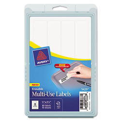 "Avery Erasable ID Labels, 7/8""x2 7/8"", 80 per Pack, White"