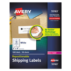"Avery White Shipping Labels, 2""x4"""
