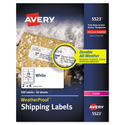 "Avery Weatherproof Laser Shipping Labels, 2""x4"", 500 per Pack"