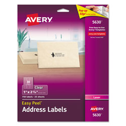 "Avery Clear Laser Address Labels, 1""x2 5/8"", 750 per Pack"