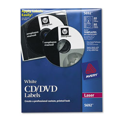 Avery CD/DVD White Matte Labels for Laser Printers, 40 per Pack