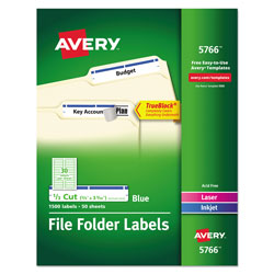 Avery Permanent Self Adhesive Laser/Ink Jet File Folder Labels, 1500 per Pack, Blue Border