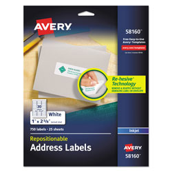 "Avery White Repositionable Address Mailing Labels, 1""x2 5/8"""