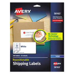 "Avery White Repositionable Shipping Mailing Labels, 2""x4"""