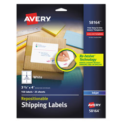 "Avery White Repositionable Shipping Mailing Labels, 3 1/3""x4"""
