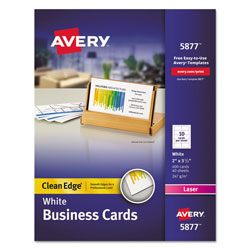 "Avery Clean Edge Laser Business Cards, 2""x3 1/2"", White, 400 Cards per Pack"