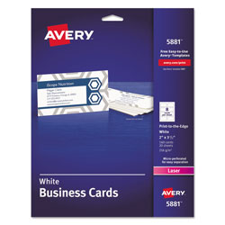 "Avery Color Laser Perforated White 2x3 1/2"" Business Cards, 8 Cards/Sheet, 160 Cards per Pack"