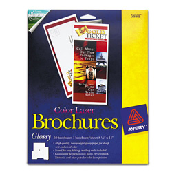 "Avery Color Laser Brochure Paper, Glossy White, 8 1/2""x11"", 50 Brochures per Pack"