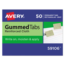 "Avery Gummed Index Tabs, 50 Tabs, 1""x1 3/16"", Gray"