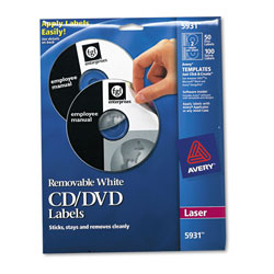 Avery CD/DVD Removable White Matte Labels for Laser Printers, 50 per Pack