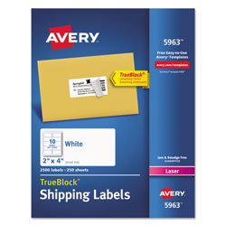 avery white laser address labels on smooth feed sheets 2x4 2500 per pack ave5963 restockit. Black Bedroom Furniture Sets. Home Design Ideas