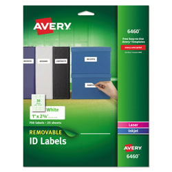 "Avery Self Adhesive White Removable Laser ID Labels, 1""x2 5/8"" Size, 750 per Pack"