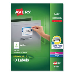 "Avery Self Adhesive White Removable Laser ID Labels, 3 1/3""x4"" Size, 150 per Pack"