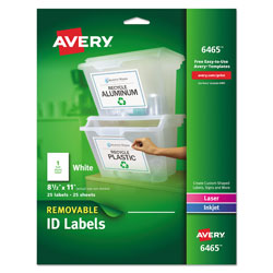 "Avery Self Adhesive White Removable Laser ID Labels, 8 1/2""x11"" Size, 25 per Pack"