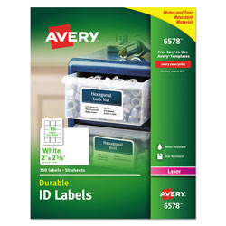 "Avery Permanent White Durable I.D. Labels for Laser Printers, 2""x2 5/8"", 750 per Pack"