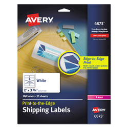 "Avery White Laser Labels for Color Printing, 2""x3 3/4"", 200 per Pack"