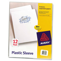 Avery Thumb Notched Poly Plastic Sleeves, Letter Size, Clear, 12 per Pack