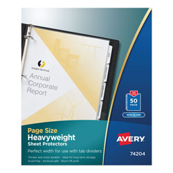Avery Non-Glare Page Size Sheet Protectors, Acid Free, Box of 50