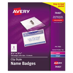 "Avery Flexible Laser/Ink Jet Badges, 2 1/4""x3 1/2"", White, 100 per Pack"