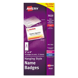 Avery Neck Hanging Flexible Laser/InkJet Badges, White, 50 per Pack
