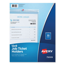 "Avery Heavy Gauge Vinyl Job Ticket Holders, 9""x12"", Crystal Clear/Matte Back, 10 per Pack"