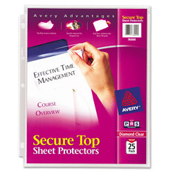 Avery Diamond Clear Secure Top™ Sheet Protectors, Acid-Free, Pack of 25