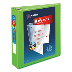 "Avery Heavy-Duty View Binder w/Locking EZD Rings, 2"" Cap, Chartreuse"
