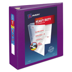 "Avery Heavy-Duty View Binder w/Locking EZD Rings, 3"" Cap, Purple"