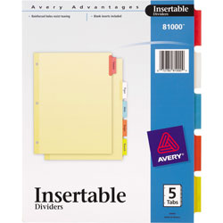 Avery Insertable Dividers, 5-Tab Set, Assorted Colors