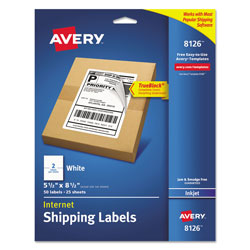 "Avery White Inkjet Shipping Labels, 5 1/2""x8 1/2"", Permanent, 2 Labels/sheet, 25 Sheets"