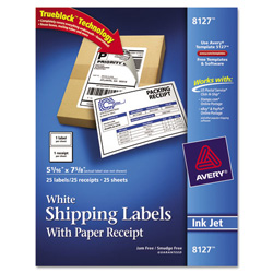 "Avery Shipping Labels with Paper Receipt, 5 1/2""x8 1/2"", White, 25 per Pack"
