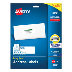 "Avery White Ink Jet Mailing Labels, 1 1/3""x4"", 350 per Pack"