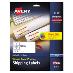 "Avery Matte White Ink Jet Labels, 2""x4"", 200 per Pack"
