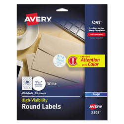 "Avery Matte White Ink Jet Labels, 1 1/2"" Round, Full Bleed, 400 per Pack"