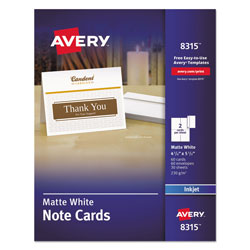 "Avery White Ink Jet Note Cards, 4 1/4""x5 1/2"", 2 Cards/Sheet, 60 Cards & Envelopes per Pack"