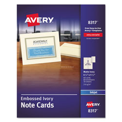 "Avery Ink Jet Embossed Note Cards, 4 1/4""x5 1/2"", Ivory, 60 Cards & Envelopes per Pack"