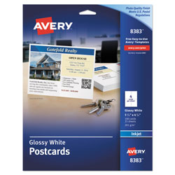 "Avery Ink Jet Glossy Photo Quality Postcards, 4 1/4""x5 1/2"", 4 Cards/Sheet, 100 Cards per Pack"