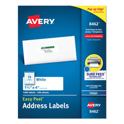 "Avery White Ink Jet Mailing Labels, 1 1/3""x4"", 1,400 per Pack"