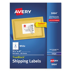 "Avery White Ink Jet Mailing Labels, 3 1/3""x4"", 600 per Pack"
