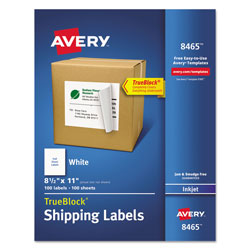 "Avery White Ink Jet Mailing Labels, 8 1/2""x11"", 100 per Pack"