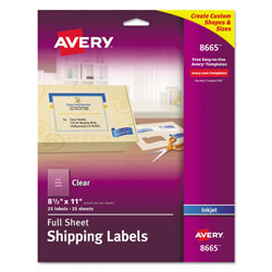 "Avery Ink Jet Clear Address Labels, 8 1/2""x11"", 25 per Pack"